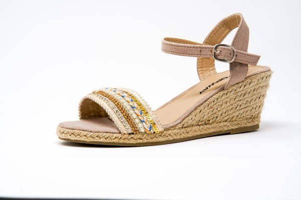 Peachyboo ° Ankle Strap Wedge Sandale ° Beige